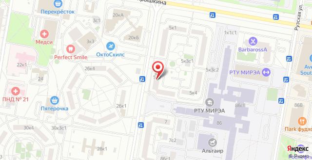 Хостелы Рус - Юго-Западная на карте