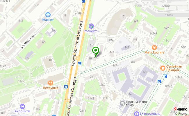 Сбербанк Москва проспект 60-летия Октября 19 карта