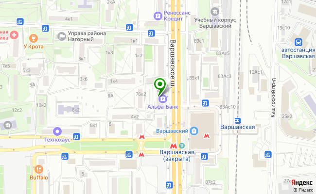 Сбербанк Москва шоссе Варшавское 76 карта