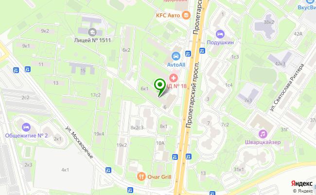 Сбербанк Москва проспект Пролетарский 6, корп.1 карта