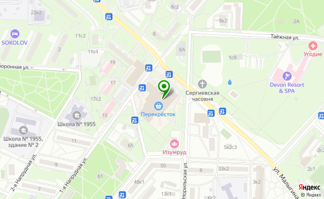 Сбербанк Москва ул. Малыгина 7 карта