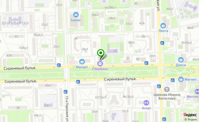 Сбербанк Москва бульвар Сиреневый 53 карта