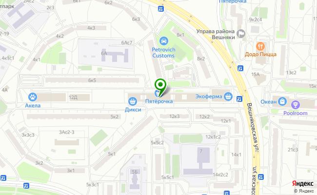 Сбербанк Москва ул. Вешняковская 12Б, стр.1 карта