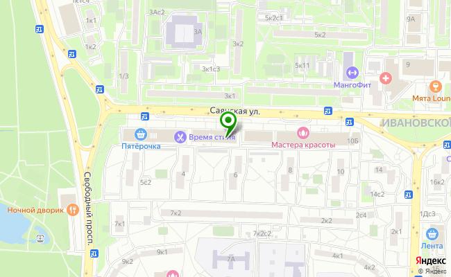 Сбербанк Москва ул. Саянская 6А, стр.1 карта