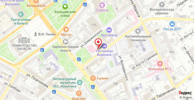 Гостиница Воронеж на карте