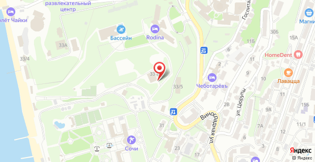 Вилла Родина на карте