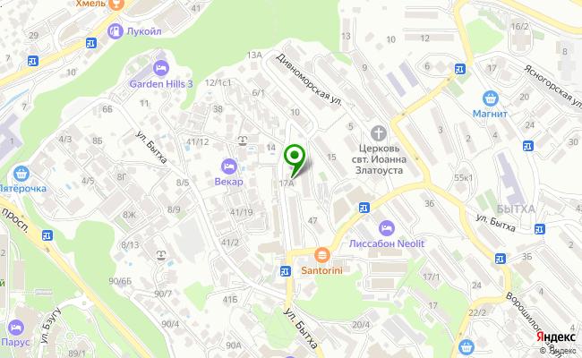 Сбербанк Сочи ул. Дивноморская 17, корп.А карта