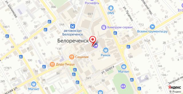 Гостиница Белореченск на карте