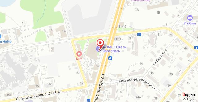 АЗИМУТ Отель Ярославль на карте