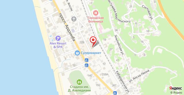 Гостевой дом на Апсны 15 на карте