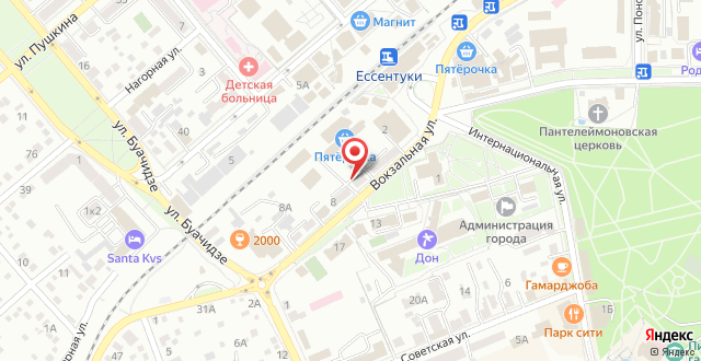 Санаторий Долина Нарзанов Ессентуки на карте