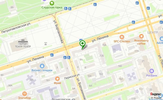 Сбербанк Пермь Ленинский район, ул. Ленина 72А карта