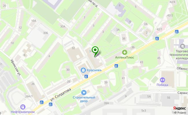 Сбербанк Пермь Свердловский район, ул. Солдатова 34 карта