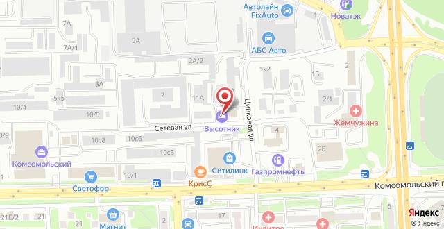 Отель Высотник на карте