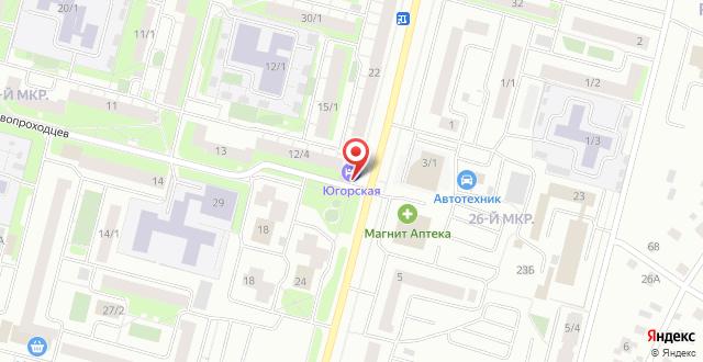 Гостиница Югорская на карте