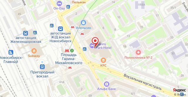 Маринс Парк Отель Новосибирск на карте