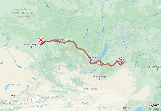 Маршрут Кемерово - Агинское
