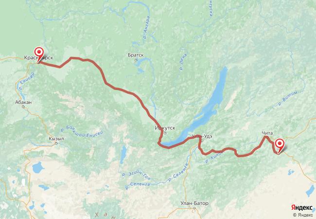 Маршрут Красноярск - Агинское
