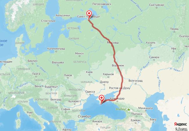 Маршрут Санкт-Петербург - Алупка