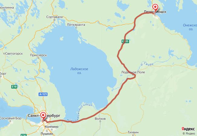 Маршрут Санкт-Петербург - Петрозаводск