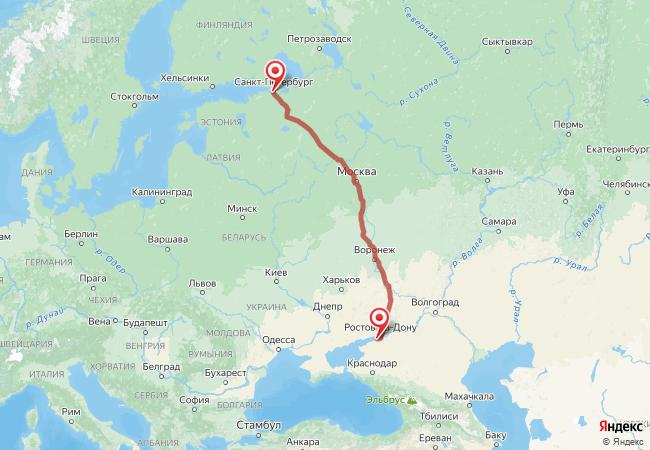 Маршрут Санкт-Петербург - Азов