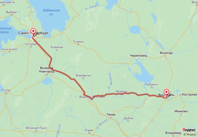 Маршрут Ярославль - Санкт-Петербург