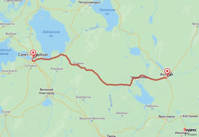 Маршрут Вологда - Санкт-Петербург