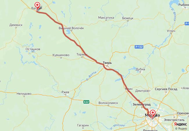 Маршрут Москва - Валдай