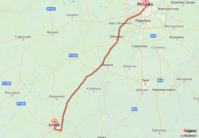 Маршрут Москва - Брянск