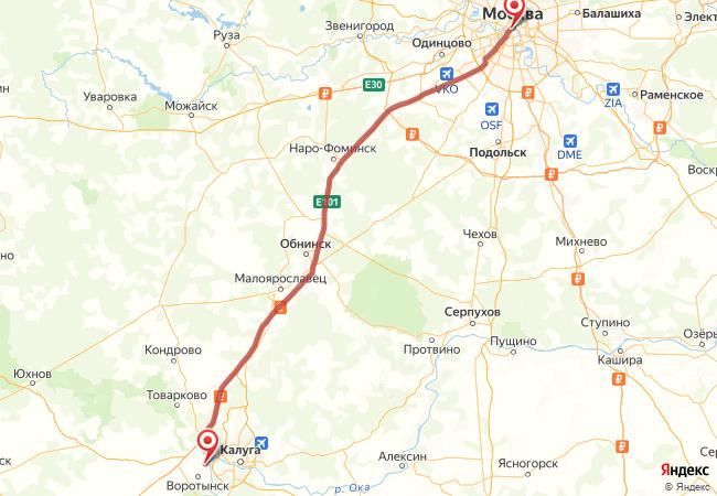 Маршрут Москва - Угра