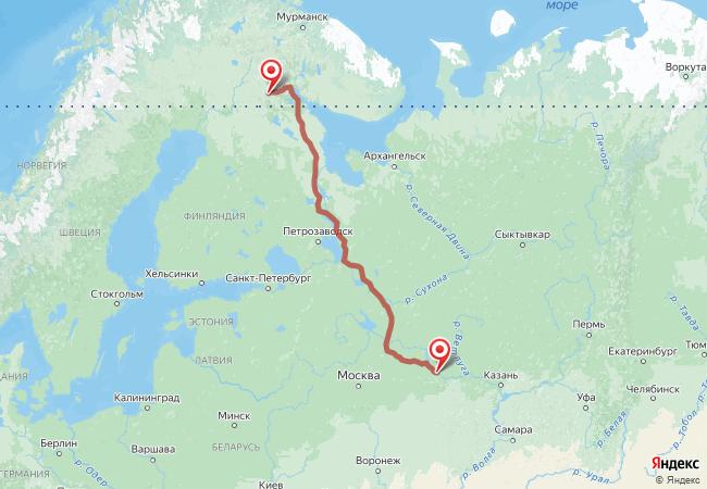 Маршрут Нижний Новгород - Алакуртти