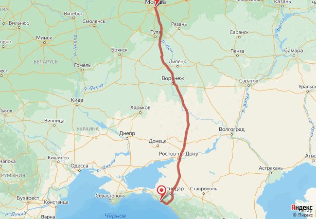 Маршрут Москва - Геленджик
