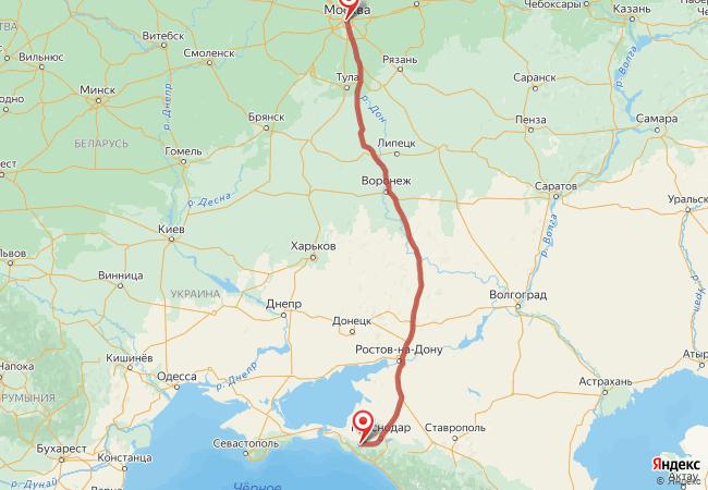 Маршрут Москва - Абинск