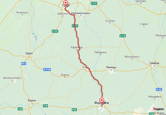 Маршрут Воронеж - Тула