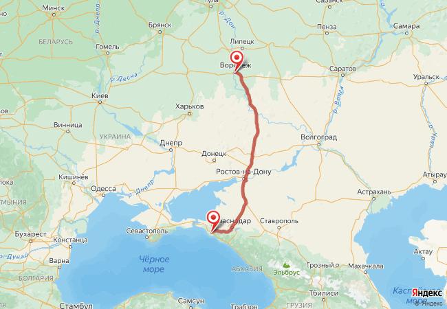 Маршрут Воронеж - Верхнебаканский