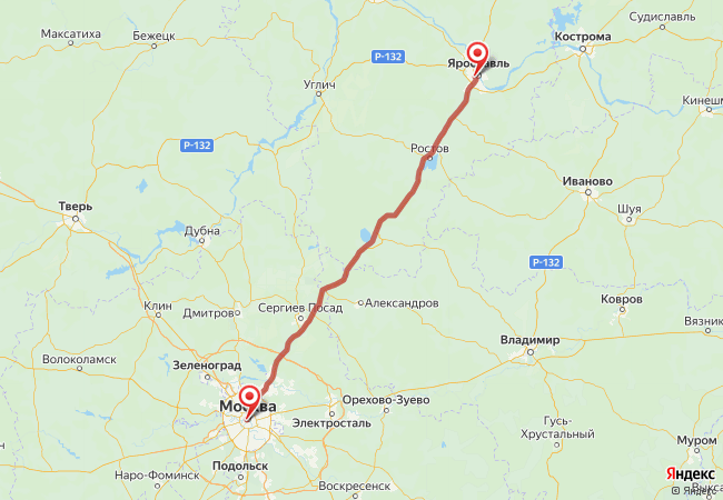 Маршрут Москва - Ярославль