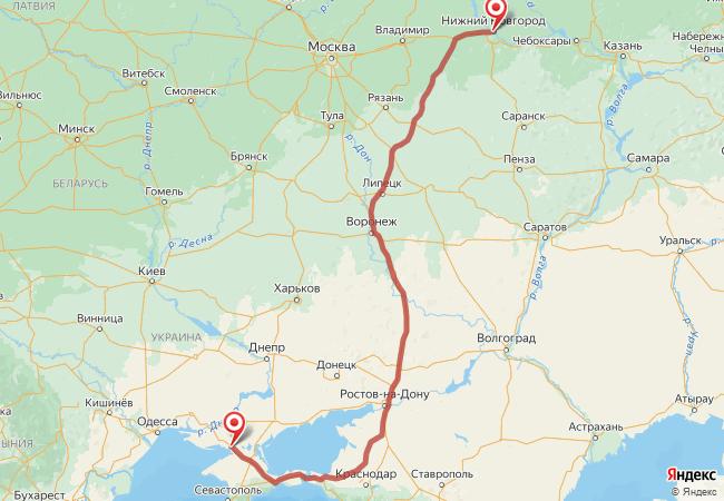 Маршрут Нижний Новгород - Армянск