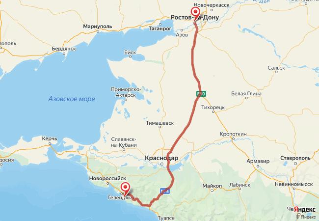 Маршрут Ростов-на-Дону - Дивноморское