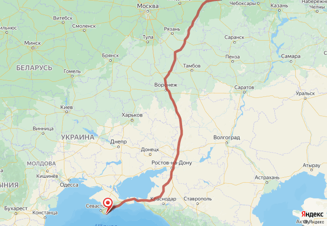 Маршрут Нижний Новгород - Алупка