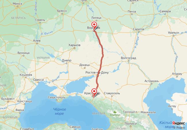 Маршрут Воронеж - Адыгейск