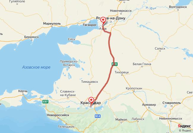 Маршрут Краснодар - Азов