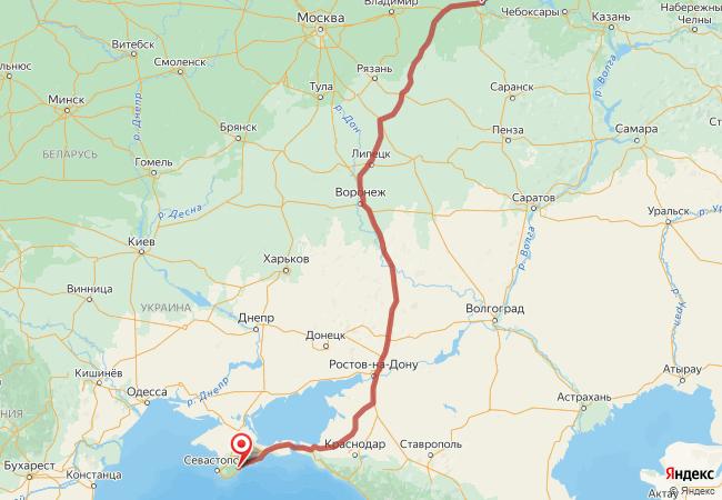 Маршрут Нижний Новгород - Алушта