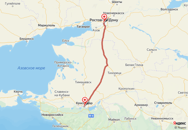 Маршрут Краснодар - Ростов-на-Дону