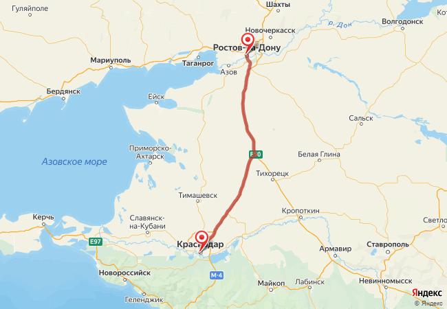 Маршрут Ростов-на-Дону - Краснодар