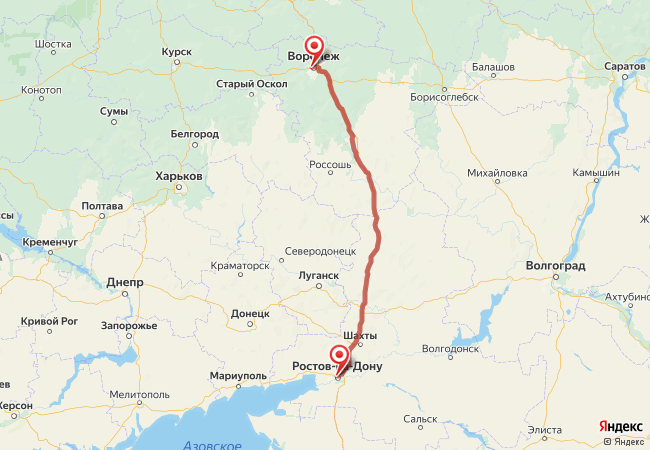 Маршрут Воронеж - Ростов-на-Дону