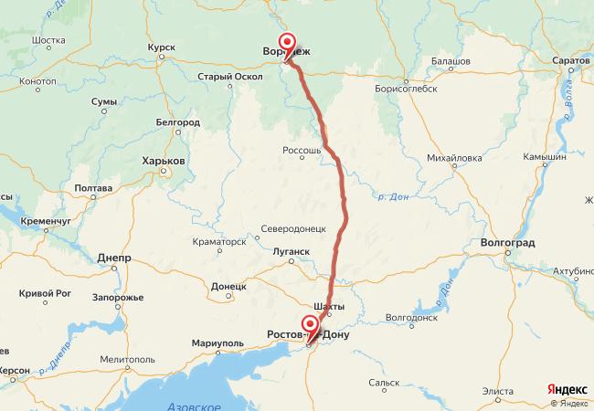 Маршрут Ростов-на-Дону - Воронеж