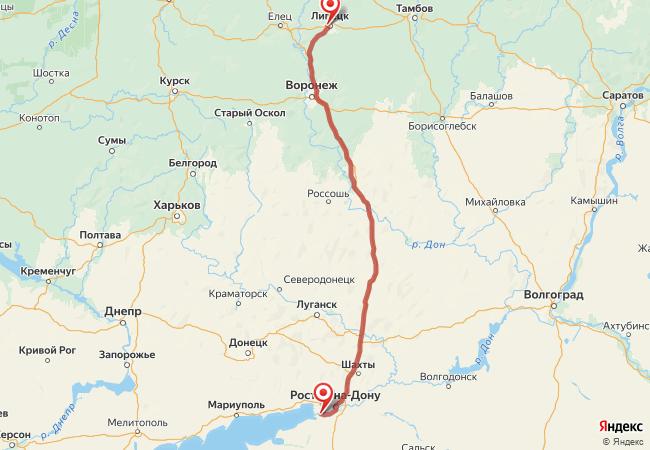 Маршрут Липецк - Азов