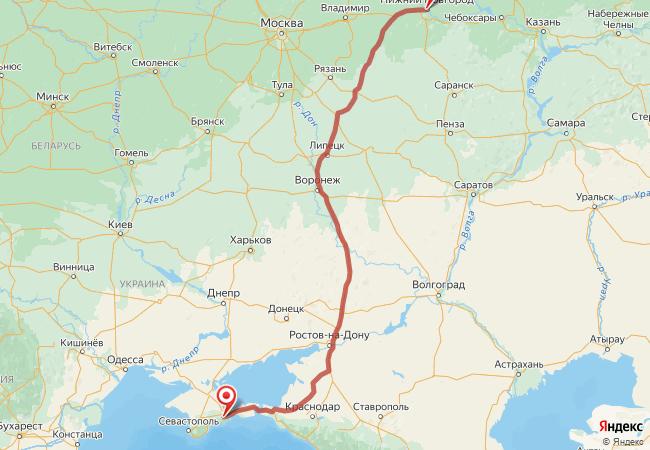 Маршрут Крым - Нижний Новгород
