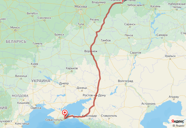 Маршрут Нижний Новгород - Крым