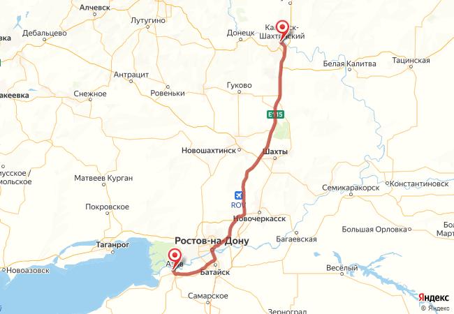 Маршрут Каменск-шахтинский - Азов
